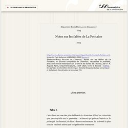Notes sur les fables de La Fontaine — Critique littéraire
