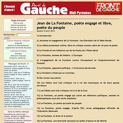 Jean de La Fontaine, poète engagé et libre, poète du peuple