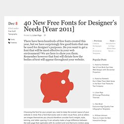 40 New Free Fonts for Designer's Needs [Year 2011]