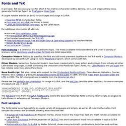Fonts and TeX - TeX Users Group