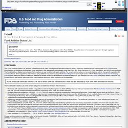 Food Additive Listings > Food Additive Status List