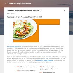 Top Food Delivery Apps You Should Try in 2021