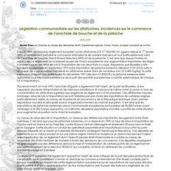 FAO 31/01/02 Législation communautaire sur les aflatoxines: incidences sur le commerce de l'arachide de bouche et de la pistache