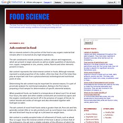 FOOD SCIENCE: Ash content in food