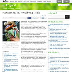 Food security key to well being