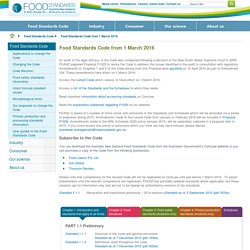 Food Standards Code from 1 March 2016