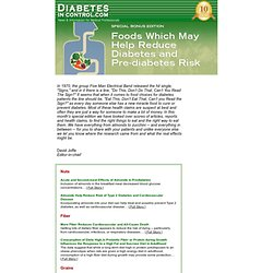 Foods that Reduce Diabetes and Pre-diabetes Risk