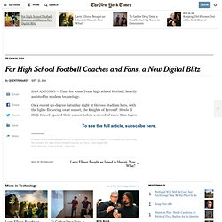 For High School Football Coaches and Fans, a New Digital Blitz
