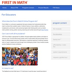 For Educators - First in Math