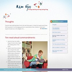 For parents: thoughts - Mem Fox