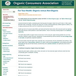 For Your Health: Organic versus Non-Organic