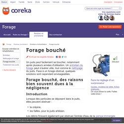 Forage bouché : comment réhabiliter - Ooreka