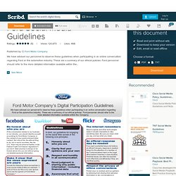 Ford Social Media Guidelines