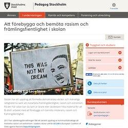 Att förebygga och bemöta rasism och främlingsfientlighet i skolan - Pedagog Stockholm