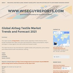 Global Airbag Textile Market Trends and Forecast 2021 – www.wiseguyreports.com