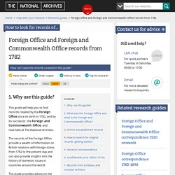 Foreign Office and Foreign and Commonwealth Office records from 1782