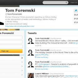 Tom Foremski (tomforemski) on Twitter