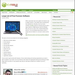 Large List of Free Forensic Software