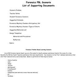 Forensics Problem Based Learning Scenario