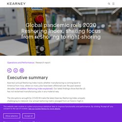 Reshoring Index - Kearney