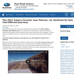 The 2017 Subaru Forester near Monroe, LA: Destined for Epic and Fuel-Efficient Journeys