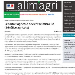 Le forfait agricole devient le micro BA (Bénéfice agricole)