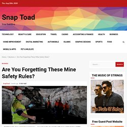 Are You Forgetting These Mine Safety Rules? - Snap Toad