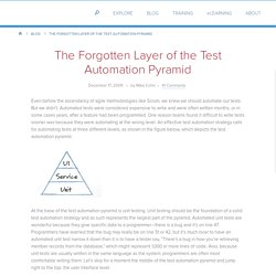 The Forgotten Layer of the Test Automation Pyramid