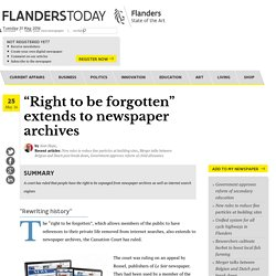 """Right to be forgotten"" extends to newspaper archives"