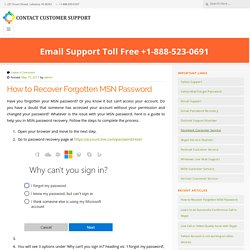 How to Recover Forgotten MSN Password - Contact Customer Support