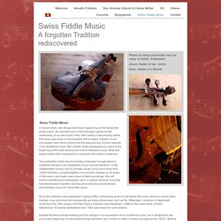 Swiss Fiddle Music A forgotten Tradition rediscovered