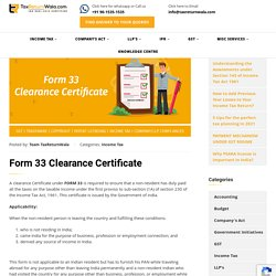 Form 33 Clearance Certificate