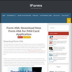 Form 49A: Download New Form 49A for PAN Card Application