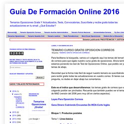 Guía De Formación Online 2016: TEMARIO CURSO GRATIS OPOSICION CORREOS