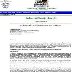 LA FORMACIÓN DEL PROFESOR UNIVERSITARIO EN EL ENTORNO DIGITAL