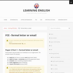 FCE - formal letter or email