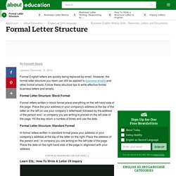 Formal Letter Structure