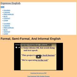 Formal, Semi-Formal, and Informal English – Espresso English