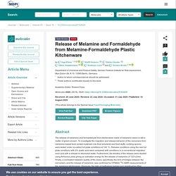 MOLECULES 10/08/20 Release of Melamine and Formaldehyde from Melamine-Formaldehyde Plastic Kitchenware