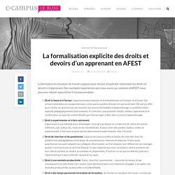La formalisation explicite des droits et devoirs d'un apprenant en AFEST
