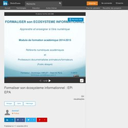 Formaliser son écosysteme informationnel : EPi EPA