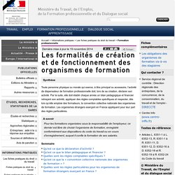 Les formalités de création et de fonctionnement des organismes de formation