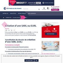 Création d'une SARL (EURL) - Formalités d'immatriculation - CCI Paris IDF