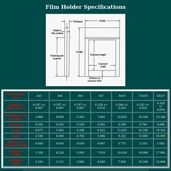 large format camera film holder specifications