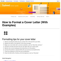 How to Format a Cover Letter (With Examples)