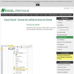 Cours Excel : format de cellule et mise en forme