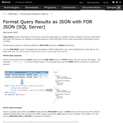 Format Query Results as JSON with FOR JSON (SQL Server)