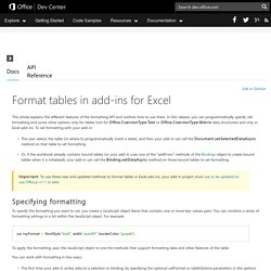 Office Dev Center - Docs - Format tables in add-ins for Excel
