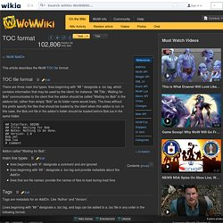 TOC format - WoWWiki - Your guide to the World of Warcraft