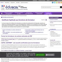 Formation des formateurs - Certificat d'aptitude aux fonctions de formateur